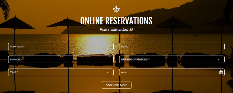 Online Rawai restaurant booking at east88phuket.com