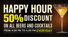 Happy Hour at 16.00h to 18.00h