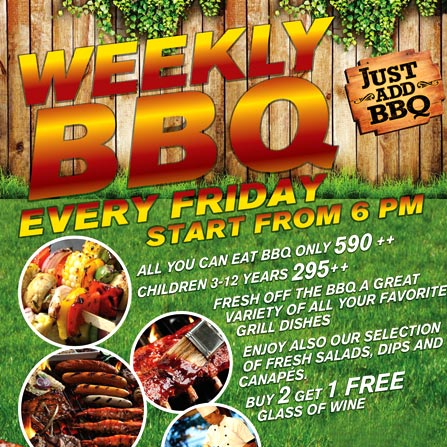 Weekly BBQ Every Friday starting from 18:00h