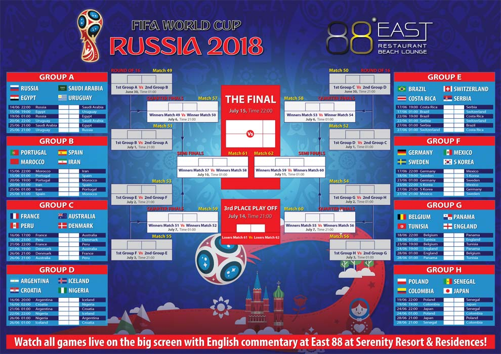 2018 FIFA World Cup Russia Live at East 88 Restaurant ...
